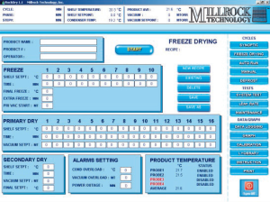 OptiDry Freeze Drying Control System Recipe Programming Screen