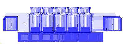side view of lyosim+vials+blocks+shelf