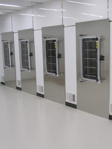 Multiple Magnum units wall-mounted in a clean room